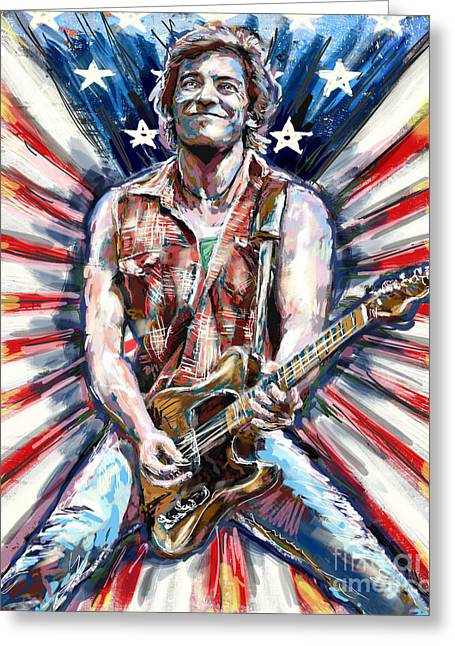 E Street Band Greeting Cards - Bruce Springsteen Painting Greeting Card by Ryan RockChromatic