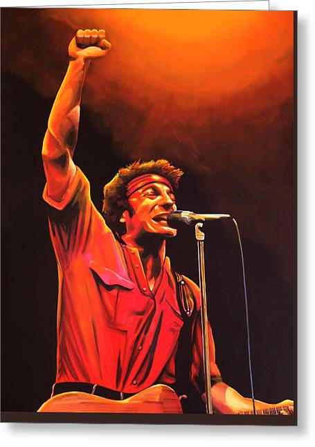 Rock And Roll Paintings Greeting Cards - Bruce Springsteen Greeting Card by Paul  Meijering