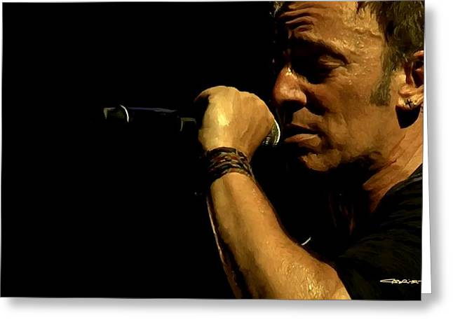 Born To Run Greeting Cards - Bruce Springsteen performing The River at Glastonbury in 2009 - 3 Greeting Card by Gabriel T Toro