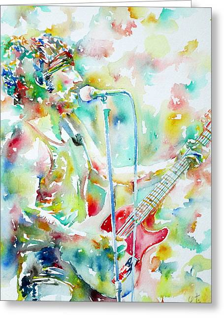 Bruce Springsteen Paintings Greeting Cards - BRUCE SPRINGSTEEN PLAYING the GUITAR WATERCOLOR PORTRAIT.1 Greeting Card by Fabrizio Cassetta