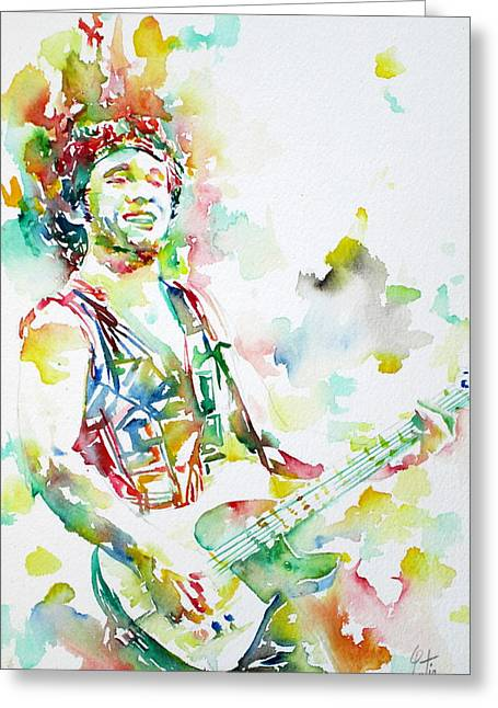 Springsteen Paintings Greeting Cards - BRUCE SPRINGSTEEN PLAYING the GUITAR WATERCOLOR PORTRAIT.2 Greeting Card by Fabrizio Cassetta