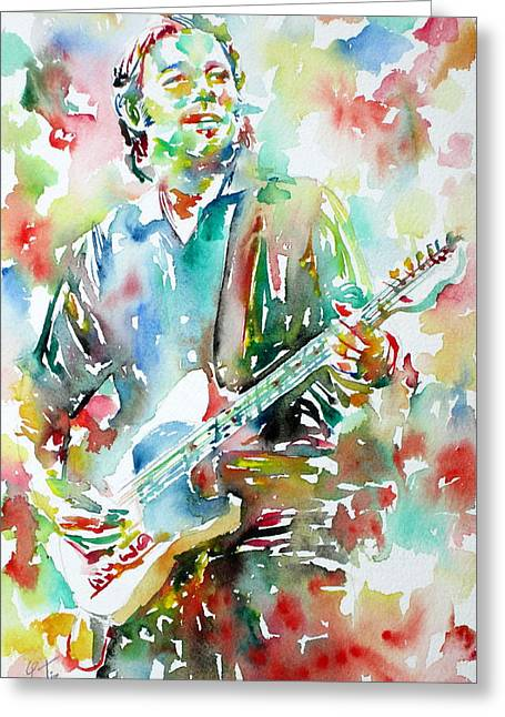 Springsteen Paintings Greeting Cards - BRUCE SPRINGSTEEN PLAYING the GUITAR WATERCOLOR PORTRAIT.3 Greeting Card by Fabrizio Cassetta