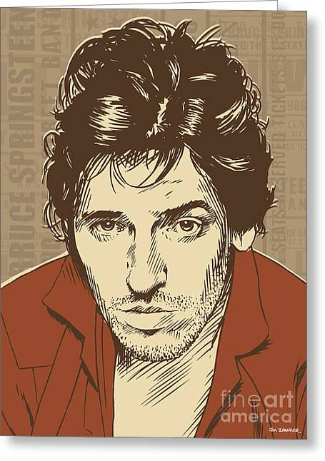 Rock N Roll Greeting Cards - Bruce Springsteen Pop Art Greeting Card by Jim Zahniser