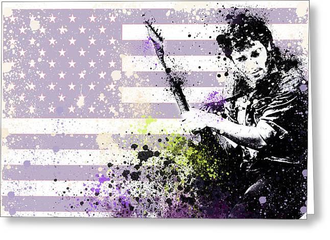 Bruce Springsteen Digital Art Greeting Cards - Bruce Springsteen Splats Greeting Card by MB Art factory