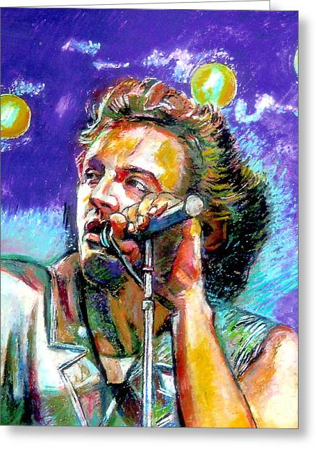 Violet Blue Pastels Greeting Cards - Bruce Springsteen Greeting Card by Stan Esson