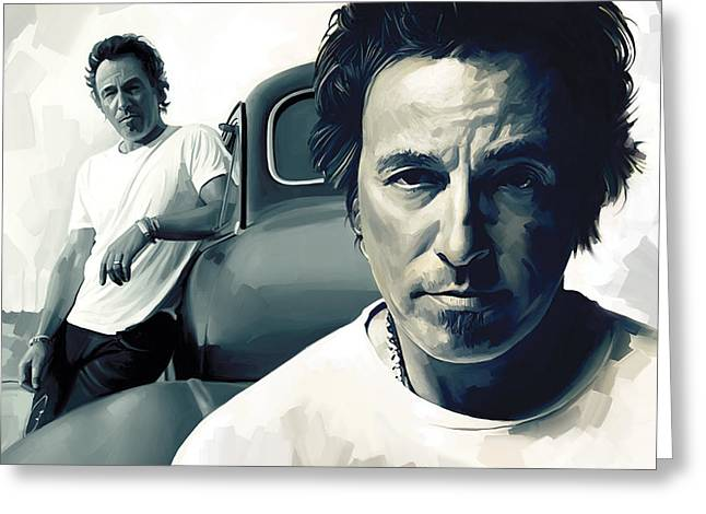 Bruce Springsteen The Boss Artwork 1 Greeting Card by Sheraz A