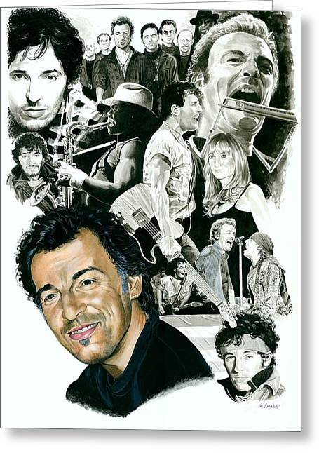 Celebrity Mixed Media Greeting Cards - Bruce Springsteen Through the Years Greeting Card by Ken Branch