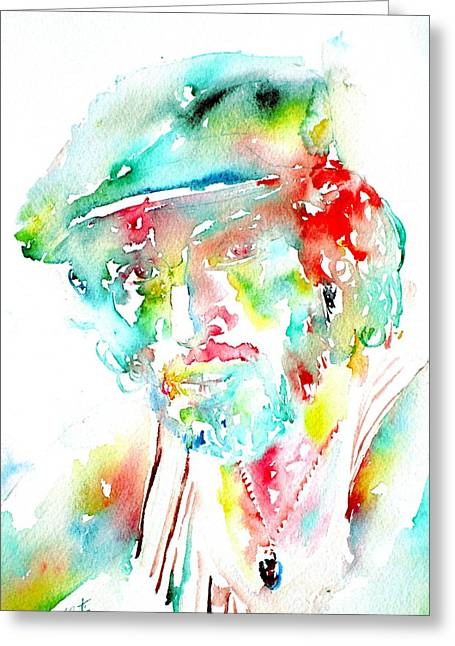 E Street Band Greeting Cards - Bruce Springsteen Watercolor Portrait Greeting Card by Fabrizio Cassetta