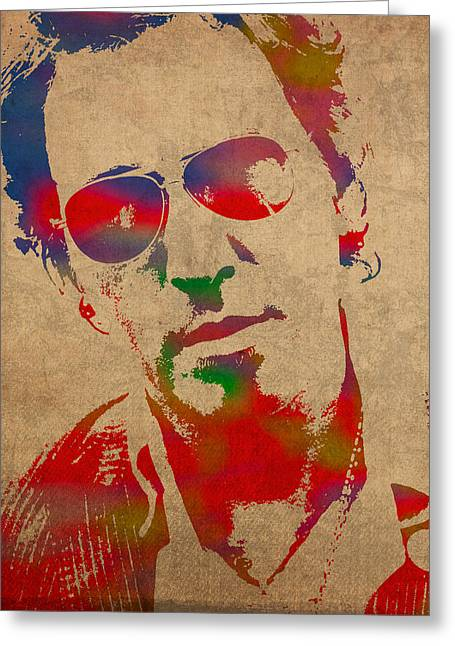 Distressed Greeting Cards - Bruce Springsteen Watercolor Portrait on Worn Distressed Canvas Greeting Card by Design Turnpike