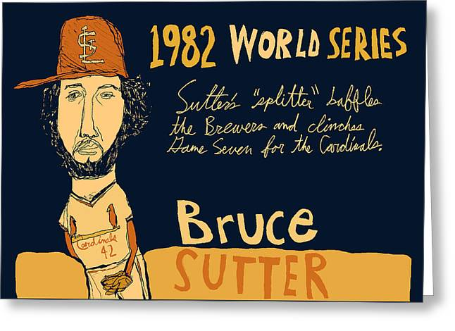 Bruce Sutter St Louis Cardinals Greeting Card by Jay Perkins