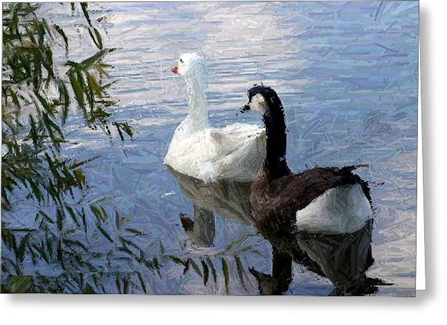 Water Fowl Tapestries - Textiles Greeting Cards - Bruce The Canadian Goose and Flo on the Go Greeting Card by Thia Stover