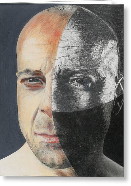 Actor Photographs Greeting Cards - Bruce Willis, 2013 Mixed Media Greeting Card by Carolyn Hubbard-Ford