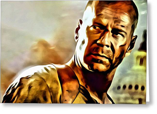 Wilis Greeting Cards - Bruce Willis Greeting Card by Florian Rodarte