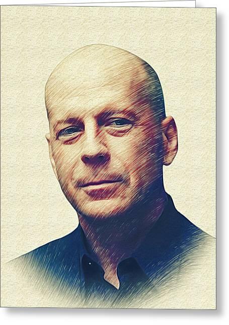 Marina Likholat Greeting Cards - Bruce Willis Greeting Card by Marina Likholat