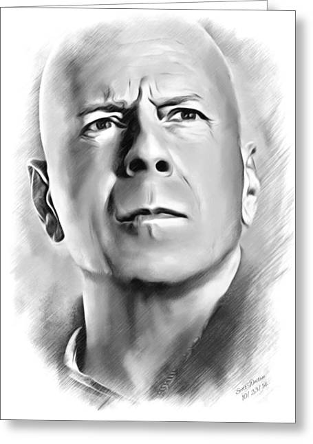 Dies In His Actions Greeting Cards - Bruce Willis Sketch Greeting Card by Scott Wallace