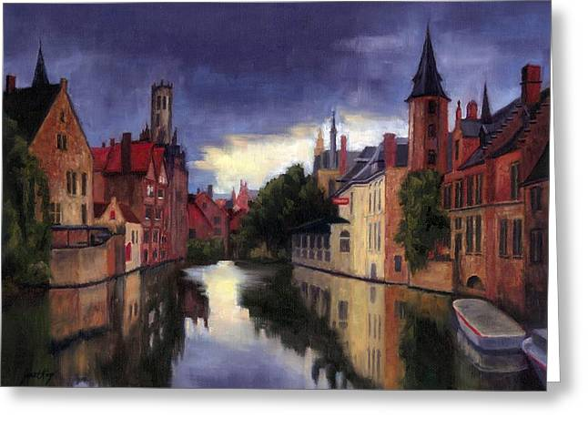 Janet King Paintings Greeting Cards - Bruges Belgium canal Greeting Card by Janet King