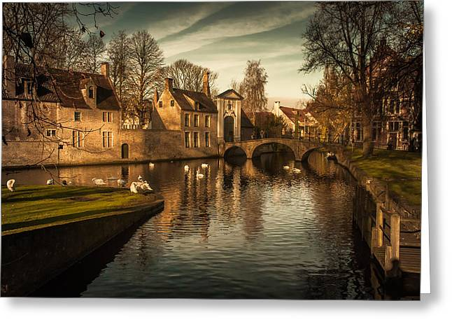 Fletcher Greeting Cards - Bruges canal Greeting Card by Chris Fletcher