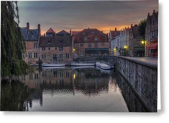 Europe Greeting Cards - Bruges Canal Dawn Greeting Card by Joan Carroll