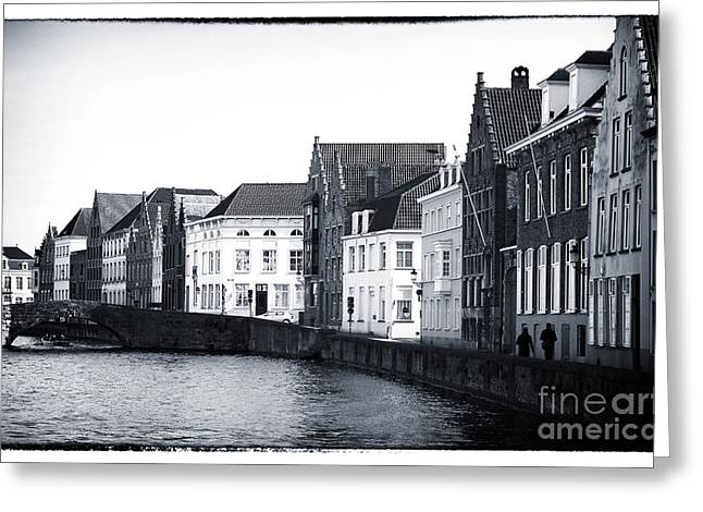 Medieval Buildings Greeting Cards - Bruges Canal Scene IX Greeting Card by John Rizzuto