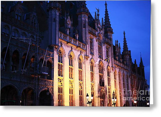 Markt Greeting Cards - Bruges City Hall at Night Greeting Card by John Rizzuto