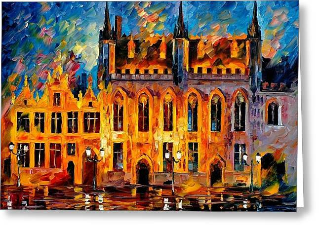 Nature Scene Paintings Greeting Cards - Bruges Greeting Card by Leonid Afremov