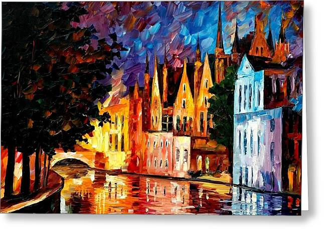 Unity Paintings Greeting Cards - Bruges - Northern Venice Greeting Card by Leonid Afremov