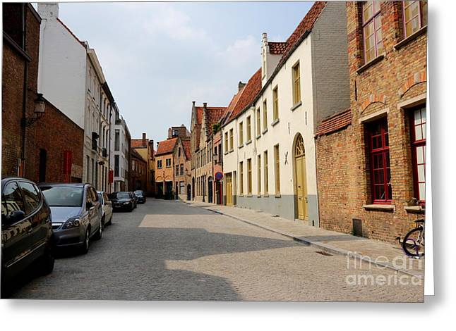 Bruges Side Street Greeting Card by Carol Groenen