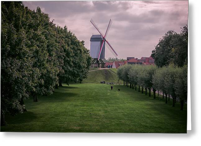 Wooden Building Greeting Cards - Bruges Windmill Greeting Card by Joan Carroll