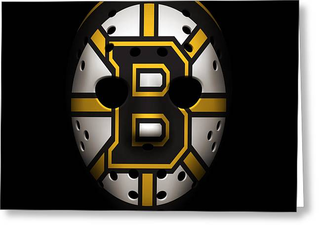 Boston Iphone Cases Greeting Cards - Bruins Goalie Mask Greeting Card by Joe Hamilton