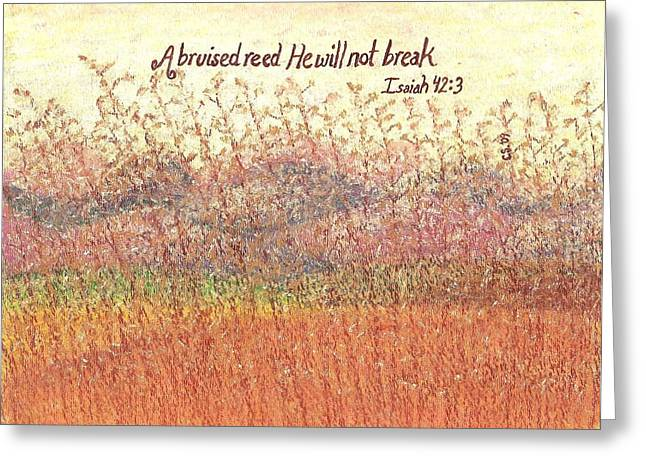 Faith Pastels Greeting Cards - Bruised Reed Greeting Card by Catherine Saldana