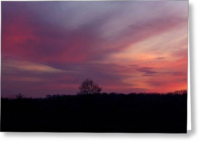 Rural Indiana Greeting Cards - Bruised Sunset Greeting Card by Dan McCafferty