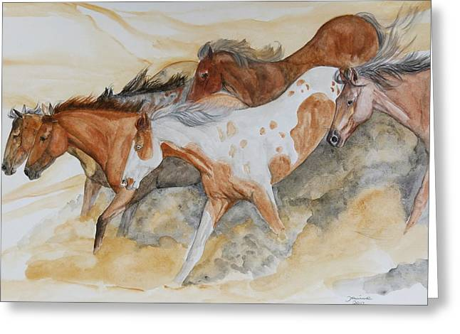 Wild Horses Greeting Cards - Bruneau Idaho Greeting Card by Janina  Suuronen