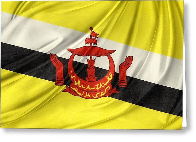 Textiles Photographs Greeting Cards - Brunei flag Greeting Card by Les Cunliffe