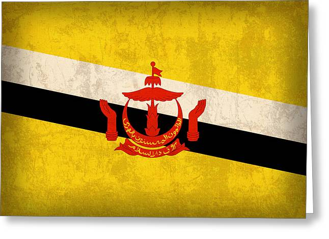 National Mixed Media Greeting Cards - Brunei Flag Vintage Distressed Finish Greeting Card by Design Turnpike