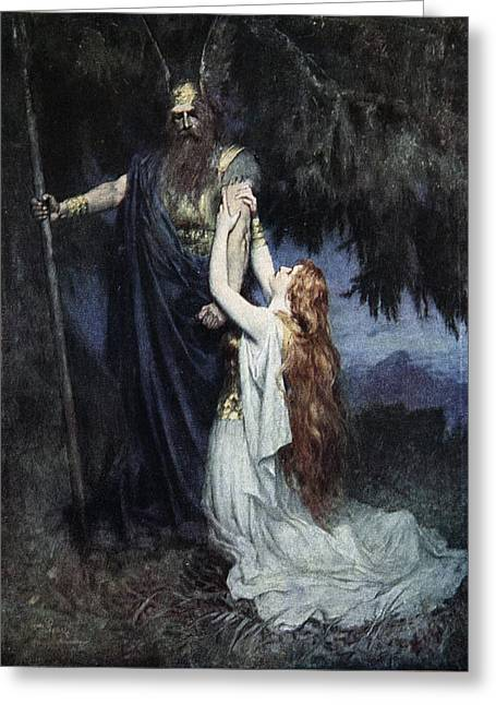 Norse Greeting Cards - Brunhilde Knelt At His Feet, From The Greeting Card by Ferdinand Leeke