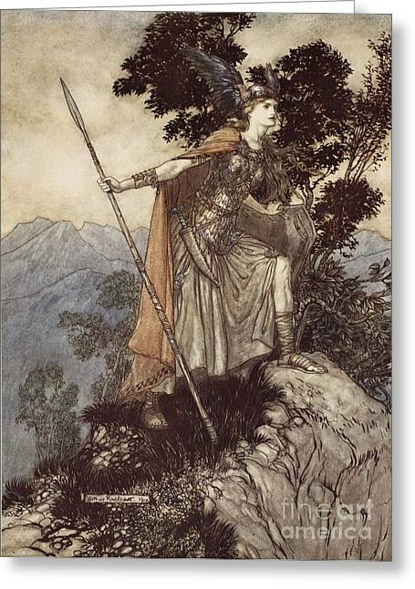 Legend Drawings Greeting Cards - Brunnhilde from The Rhinegold and the Valkyrie Greeting Card by Arthur Rackham