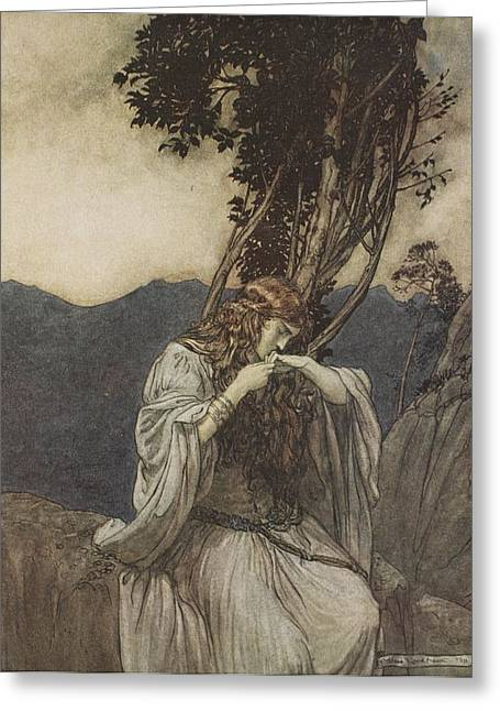 Rocks Drawings Greeting Cards - Brunnhilde kisses the ring that Siegfried has left with her Greeting Card by Arthur Rackham
