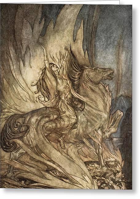 Legend Drawings Greeting Cards - Brunnhilde On Grane Leaps Greeting Card by Arthur Rackham