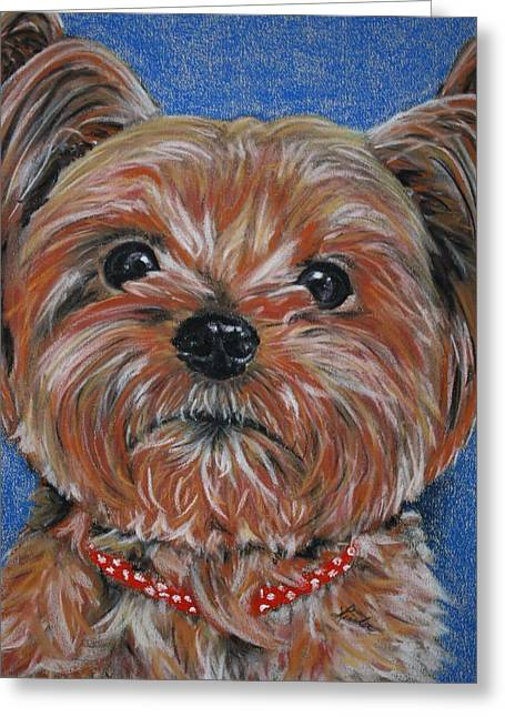 Doggy Pastels Greeting Cards - Bruno Greeting Card by Linda Eversole