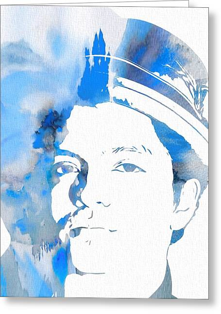 Choreographer Greeting Cards - Bruno Mars Blue Watercolor Greeting Card by Dan Sproul