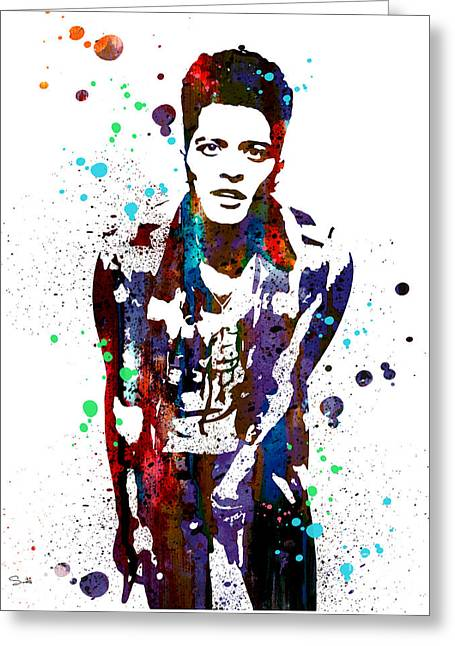 Watercolour Paintings Greeting Cards - Bruno Mars Greeting Card by Luke and Slavi