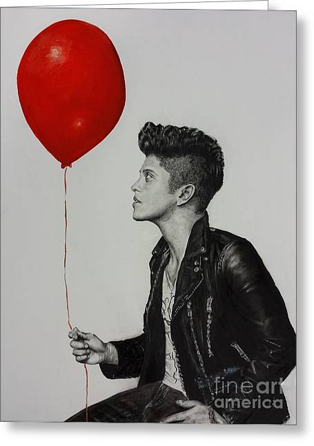 Award Drawings Greeting Cards - Bruno Mars Greeting Card by S G Williams