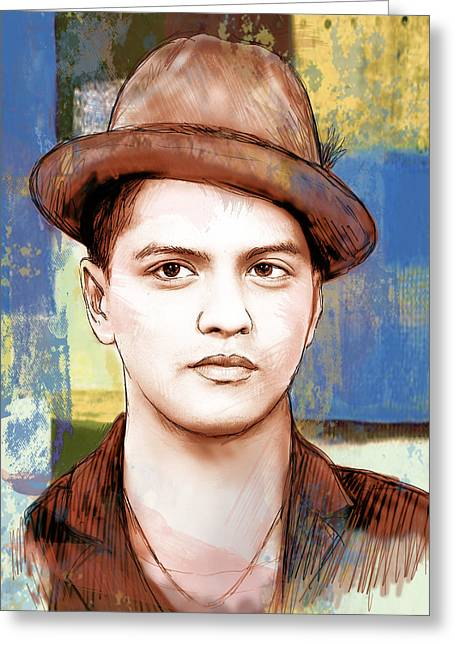 Featured Mixed Media Greeting Cards - Bruno Mars - stylised drawing art poster Greeting Card by Kim Wang