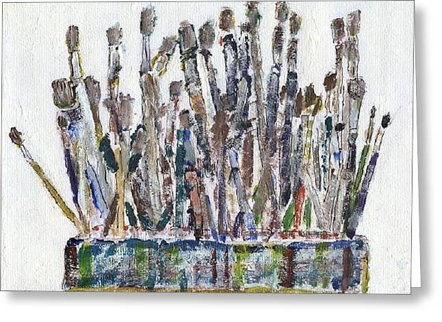 Caddy Paintings Greeting Cards - Brush Caddy Greeting Card by Kevin  Harding
