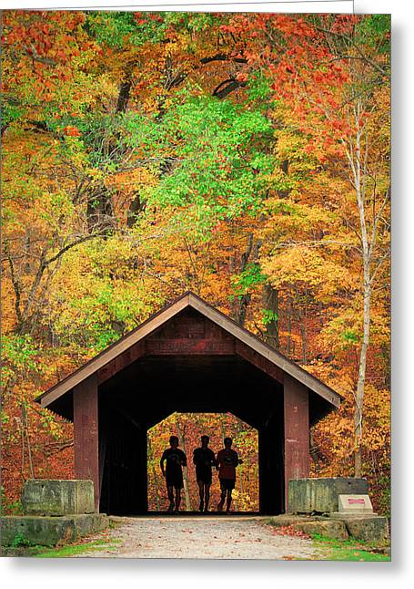 Brush Creek Covered Bridge Greeting Card by Emmanuel Panagiotakis