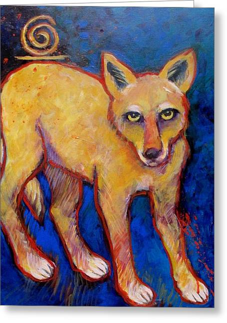 Brush Wolf Greeting Cards - Brush Wolf Coyote Greeting Card by Carol Suzanne Niebuhr