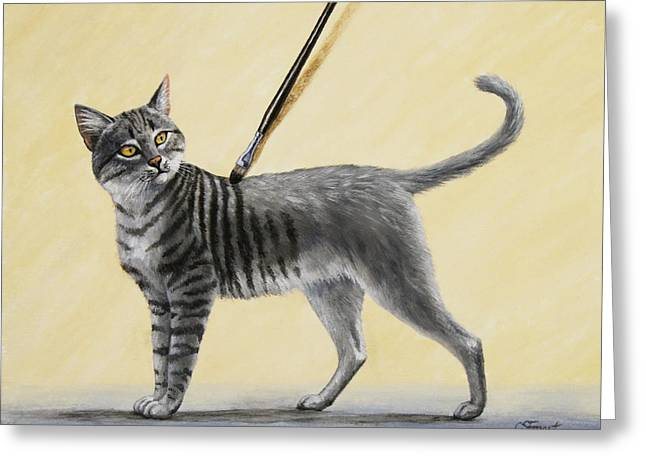 Domestic Cat Greeting Cards - Brushing the Cat - No. 2 Greeting Card by Crista Forest