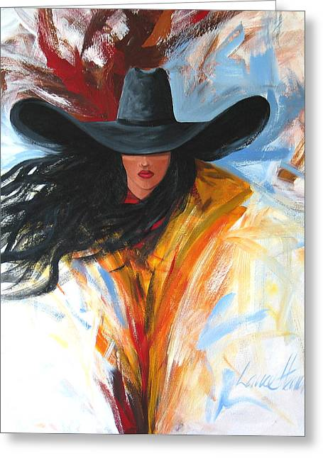 Lance Headlee Greeting Cards - Brushstroke Cowgirl Greeting Card by Lance Headlee