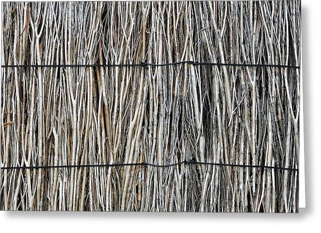 Organic Greeting Cards - Brushwood fence abstract Greeting Card by View Factor Images