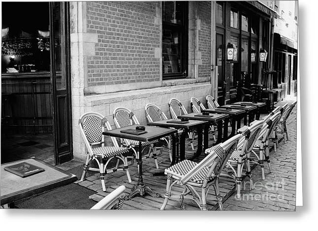 Table And Chairs Greeting Cards - Brussels Cafe in Black and White Greeting Card by Carol Groenen